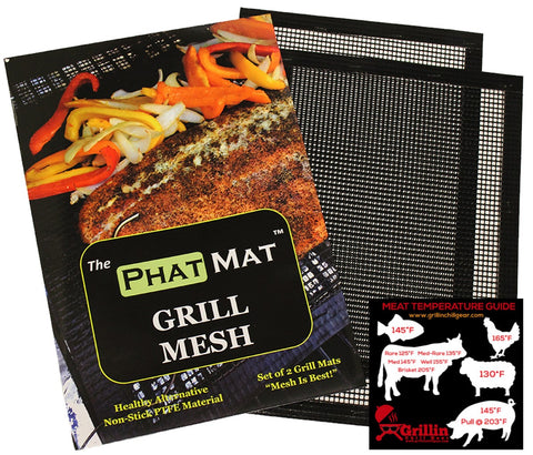 "PhatMat Non Stick Grill Mesh Mats (2 pk) - 16""x11"" - Heavy Duty BBQ Grilling & Baking Accessories for Traeger, Green Egg, Smoker & Oven - Include FREE Meat Smoking Temperature Guide"