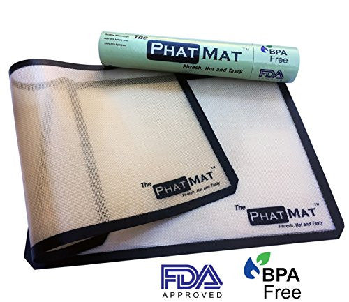 Premium Silicone Baking Mat 2-Pack from The PhatMat- Half Sheet set, Non-stick, Professional Grade, Perfect Cookie Mat