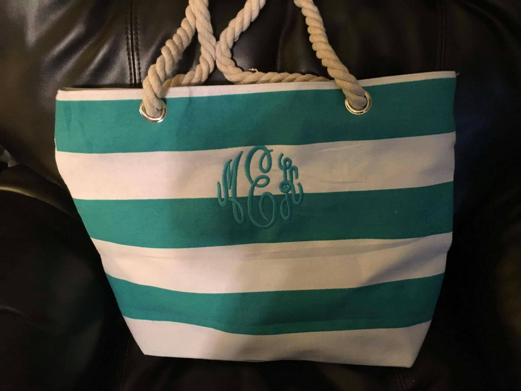 Monogrammed Canvas Tote Bag