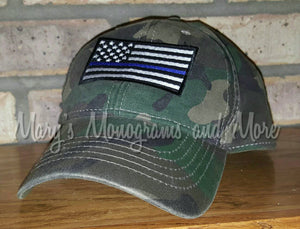 Thin Blue Line American Flag Baseball Hat, Embroidered Camo Police Officer Cap, Military, Back the Blue, Law Enforcement, Cop, Custom Hats