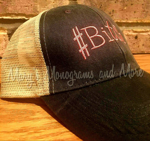 Bitch Hat - #Bitch Distressed Trucker Hat - #Bitch Ollie Cap - Personalized Trucker Hat - Bitch Accessory - Bitch Headwear
