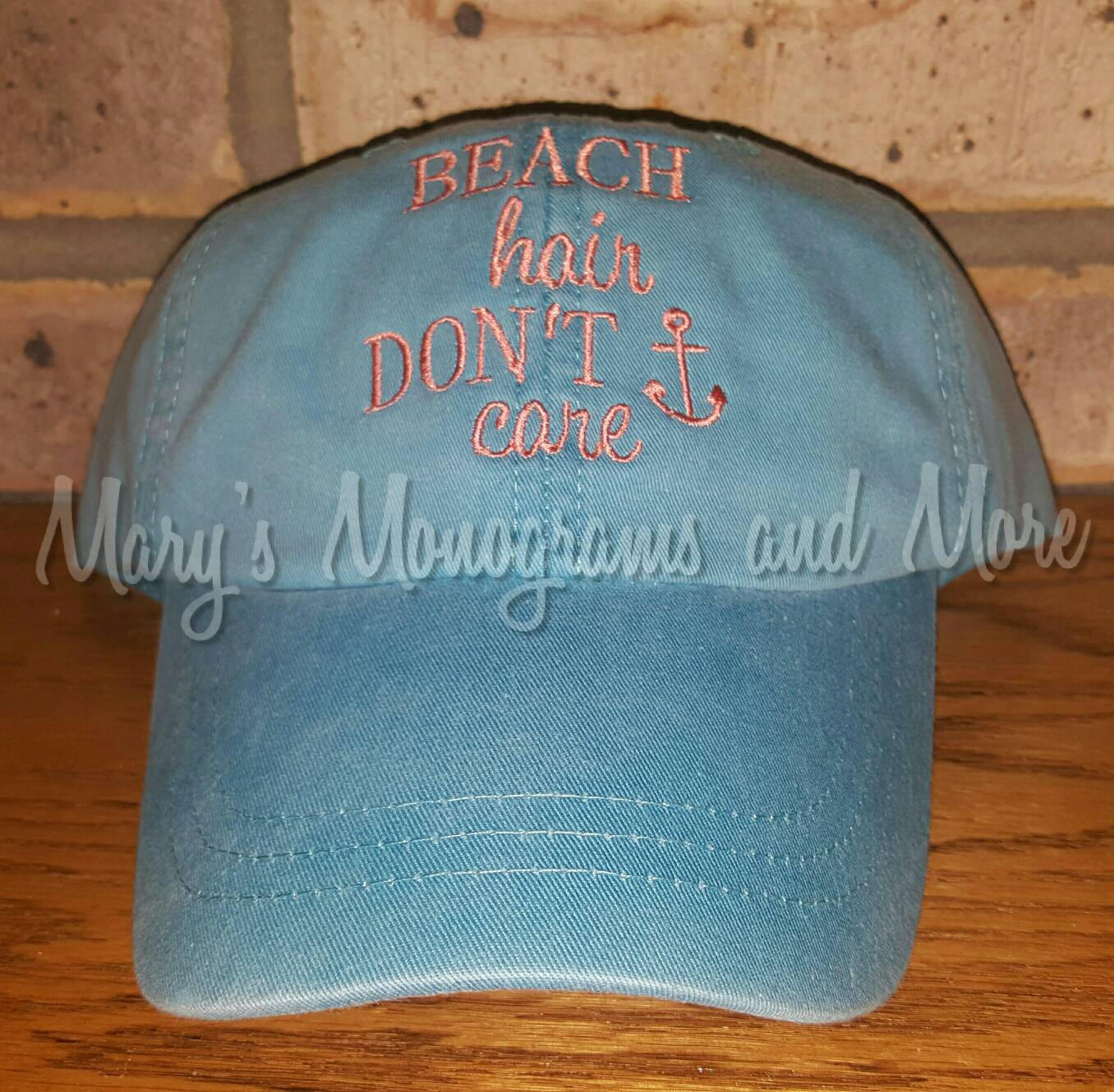 Embroidered Beach Hair Don't Care Baseball Hat - Beach Hair Ball Cap - Distressed Messy Hair Hat