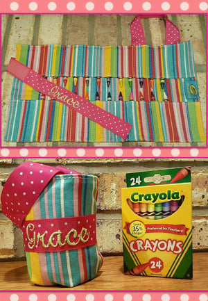 FREE SHIPPING - Personalized Crayola Doodlebugz Crayon Keepers - Embroidered Crayola Crayon Carrier - Monogrammed Crayon Roll Up Carrier