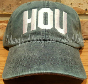HOU Airport Code Hat -Houston Airport Code Hat -Houston, Texas Aviator Cap -HOU Pilot Baseball Cap -Hurricane Harvey relief
