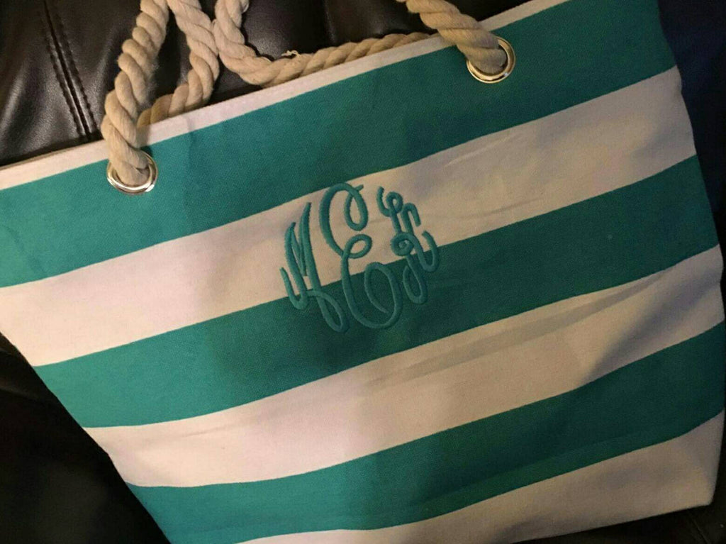 Monogrammed Canvas Tote Bag, Embroidered, Beach Bag, Personalized Canvas Purse, Monogram, Striped Tote Bag, Carryall, Vacation, Summer Bags
