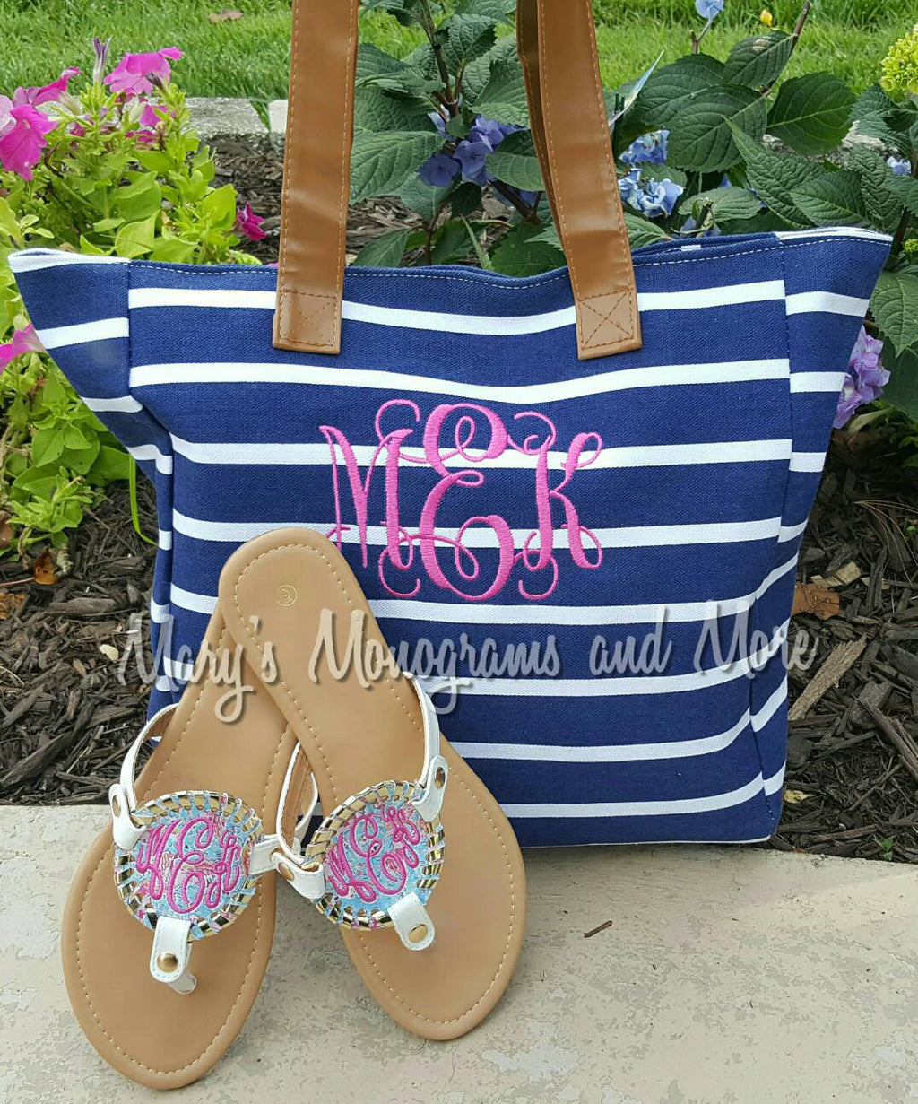 Monogrammed Striped Canvas Tote Bag