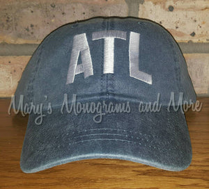 ATL Airport Code Hat - Atlanta Airport Code Baseball Hat - Atlanta International Airport Cap - Georgia Hat- Personalized Hat