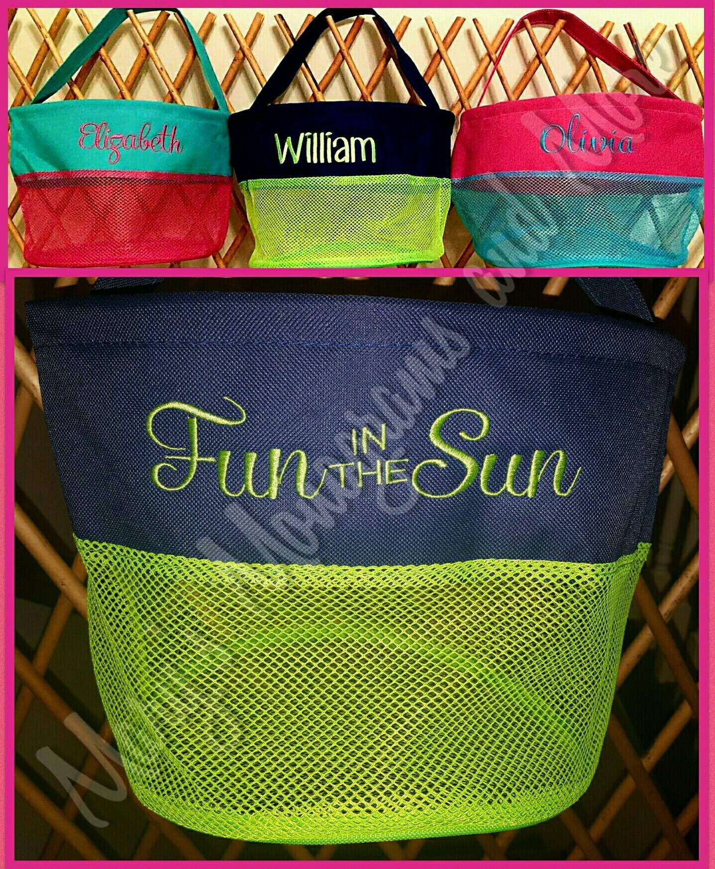 FREE SHIPPING - Embroidery Personalized Mesh Seashell Bucket - Monogrammed Shell Bag - Bath Toy Basket - Embroidered Pool Toy Carrier