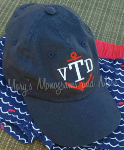 Children's Anchor Monogram Baseball Hat