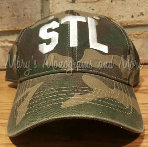 Embroidered STL Airport Code Camo Hat - Camouflage STL Baseball Cap - Camo Saint Louis Airport Code Hat