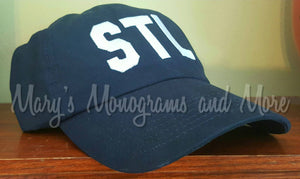 STL Airport Code Hat - St. Louis Airport Code Hat - Saint Louis Hat - STL Navy Blue Ball Cap - Personalized Airport Code Hat