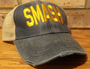 Free Shipping - SMASH Hat - Distressed Trucker Smash Ollie Cap - SMASH Trucker Cap Collection