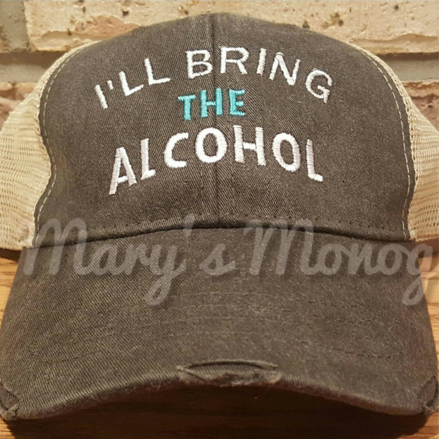 Set of 2, I'll bring the alcohol, bad decisions trucker hat set, custom girls trip, bff, night out, party drinking hat set