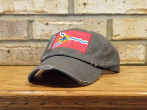 St. Louis Flag Hat - STL hat, Saint Louis City Flag, St Louis Missouri Baseball Cap, fleur-de-lis, Missouri and Mississippi