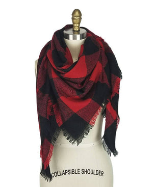 Monogrammed Buffalo Plaid Scarf and Gloves Set, Matching Embroidered Badia Scarf and Gloves, Blanket Scarves, Monogrammed Smartphone Gloves