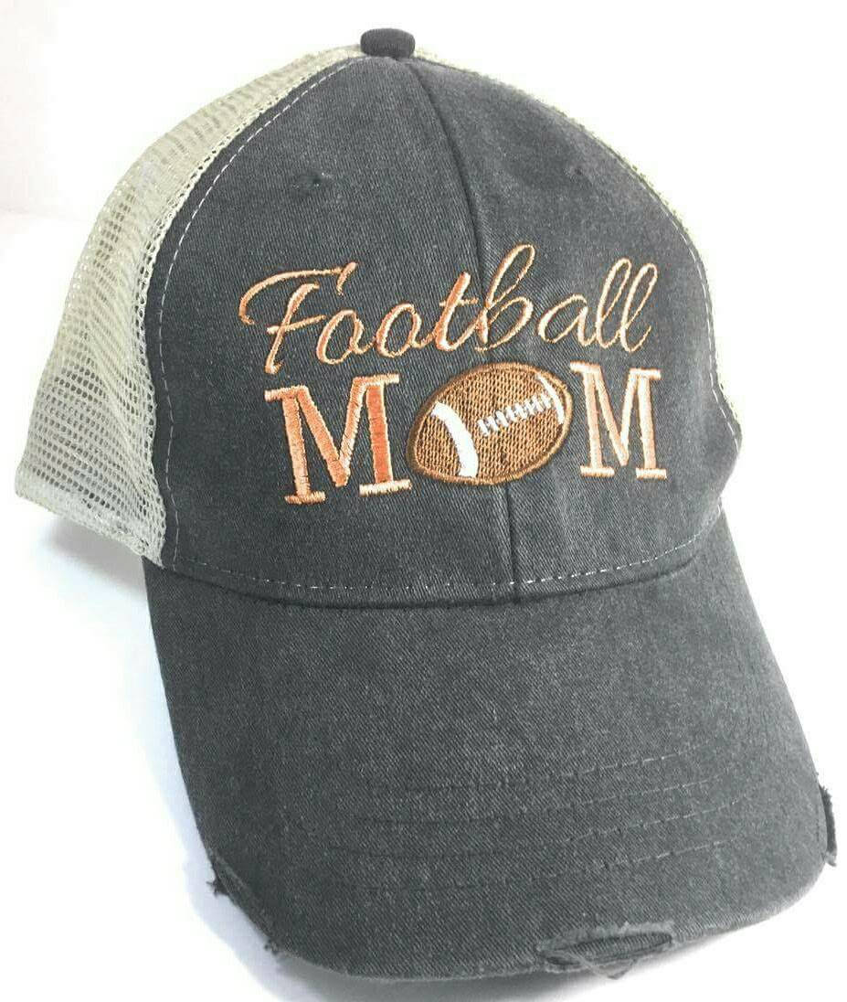 Football MOM Hat - sports, football, quarterback, touchdown, boy mom embroidered trucker or baseball hat, can be personalized or monogrammed