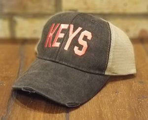 KEYS Embroidered Hat - Airport Code Florida Keys Hat, FL Personalized Trucker Hat, Summer Vacation, Beach, Spring Break, Ocean Trip Cap