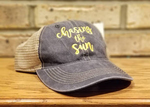 Chasing The Sun Hat - Chasing The Sun Trucker or Baseball Hat, Can Be Personalized or Monogrammed, Custom Embroidered Hat