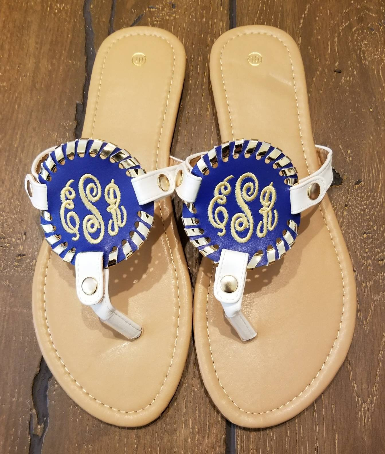 Monogrammed Disc Medallions (Discs Only)  Embroidered Discs, Interchangeable Discs, Lily, Solid, and Baseball Discs - Sandals Not Included
