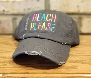 Beach Please Hat - Embroidered Beach Cap, Distressed Baseball or Trucker Beach, Summer, Spring Break, Party, Beach, Sun, Custom Hat