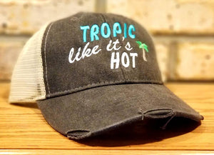 Tropic Like It's Hot Hat - I'll Bring The Alcohol and Bad Decisions Hats - Custom Party, Drinking, Beach, Vacation, Bachelorette, Girls Trip