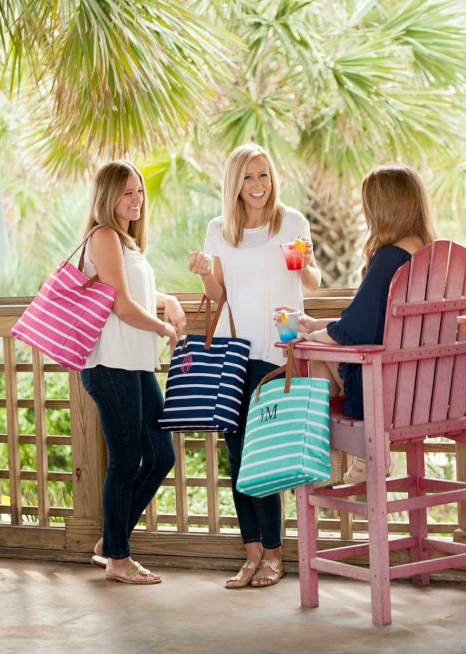 Monogrammed Striped Canvas Tote Bag - Embroidered Navy, Pink, Mint, and Aqua Summer Personalized Beach Bag - Canvas Purse, Striped Tote