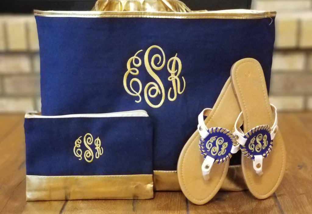 Monogrammed Navy Cabana Tote Bag with Vegan Leather Gold Trim - Matching Accessory Bag and Disc Sandals - Embroidered Cabana Summer Set