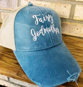 Fairy Godmother Hat - Embroidered Fairy Godmother Trucker or Baseball Hat - Fairy God Mother - Cinderella - Fairy Tale - Custom Embroidered