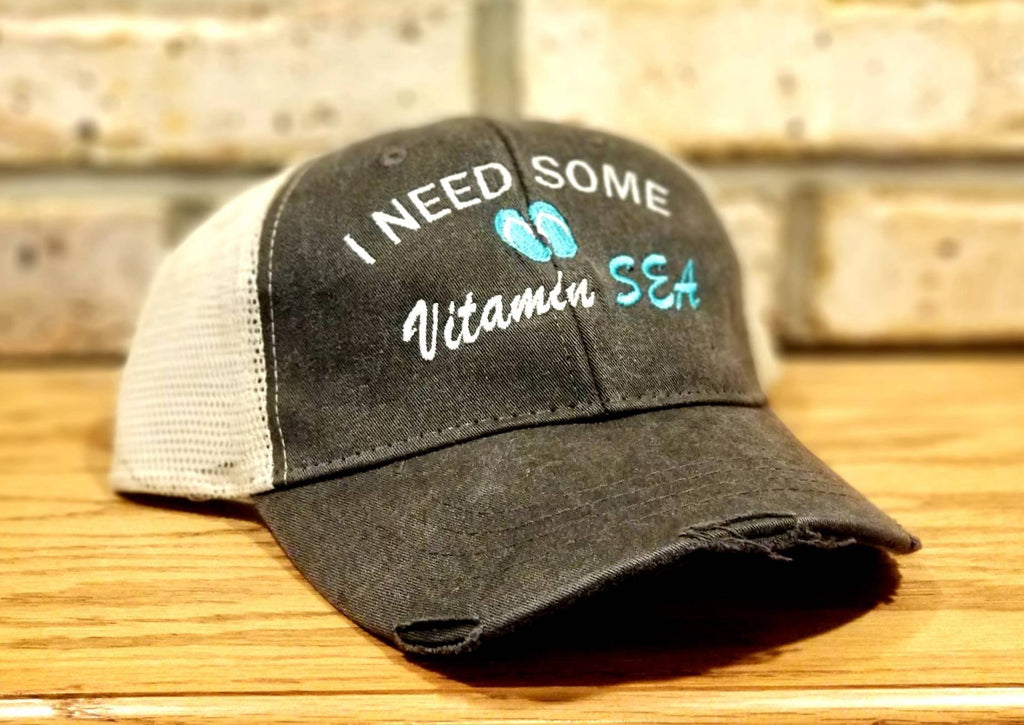 Beach Hat - I Need Some Vitamin Sea Embroidered Vacation, Girls Trip, Getaway, Honeymoon, Summer, Ocean, Party, BFFs, Drinking Hat