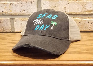 Seas The Day Hat - Embroidered Summer, Beach, Vacation, Party, Girls Trip, I'll Bring The Alcohol, Bad Decisions, Sailing, Boating, Hat