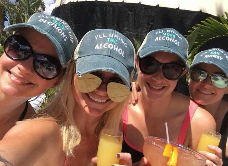 I'll Bring The Lei Hat -Distressed Trucker, I'll Bring The Alcohol, Bad Decisions, Party, Girls Night Out, Girls Weekend, Trip, Drinking Hat