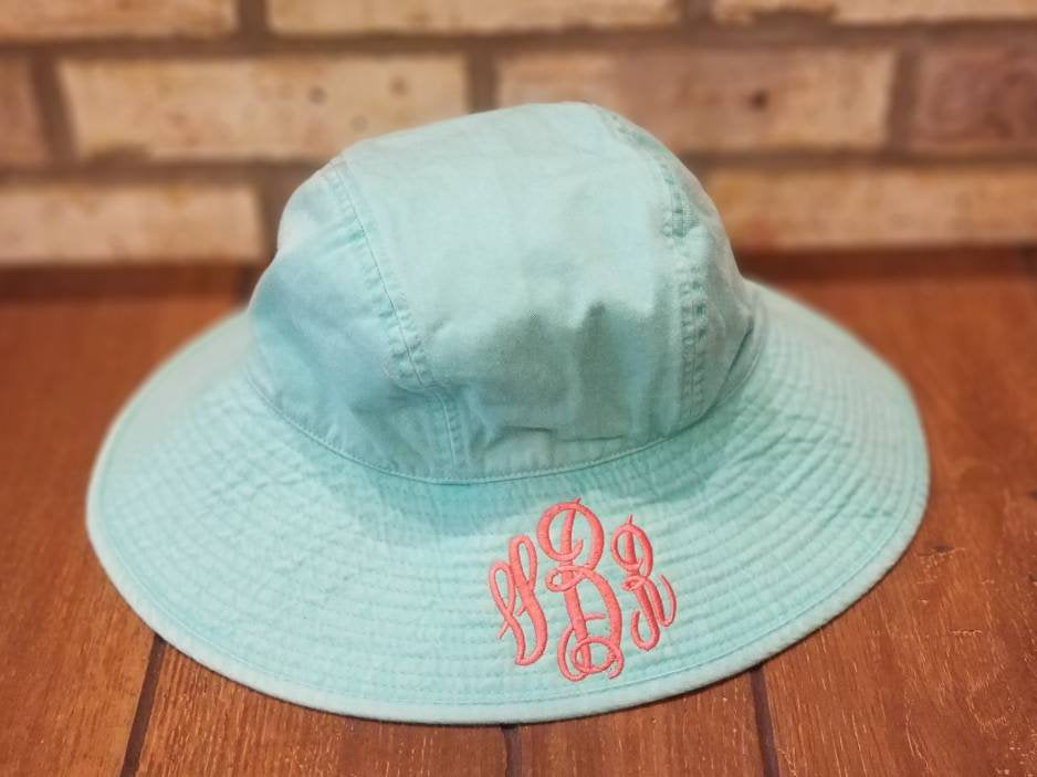 Monogrammed Sun Hat - Embroidered Ladies' Floppy Hat, Personalized Adams Sea Breeze Beach, Pool, Vacation, Summer, Lake, Ocean, Bucket Hat