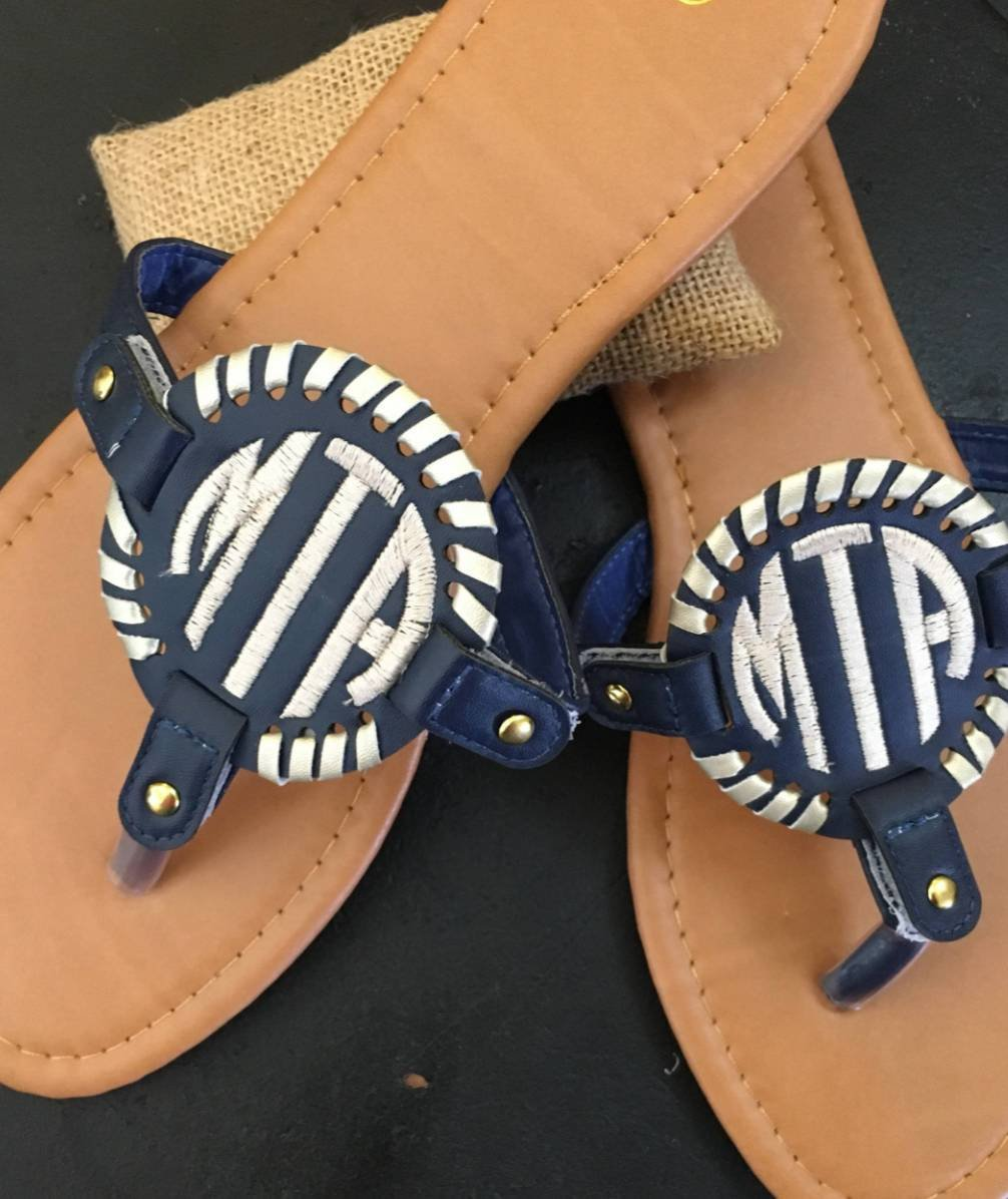 Monogrammed Disc Sandals - Embroidered Baseball, Solid, Lilly Pattern Emblem Sandals - Monogrammed Flip Flops, Personalized Summer Thongs