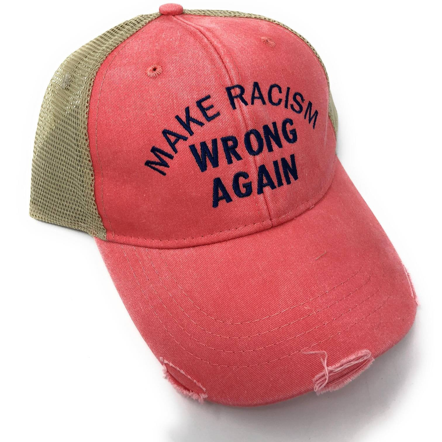 Make Racism Wrong Again Hat, Embroidered Anti Discrimination Cap, Liberal, Pride, Peace, No Racism, Custom, Personalized Baseball Hat