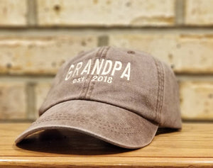 Grandpa Hat - Embroidered Established Grandpa or Dad Baseball Hat - Grandfather, Daddy, PaPa, Gramps, PawPaw, BaBa, Pop, Abuelo, Poppy Cap