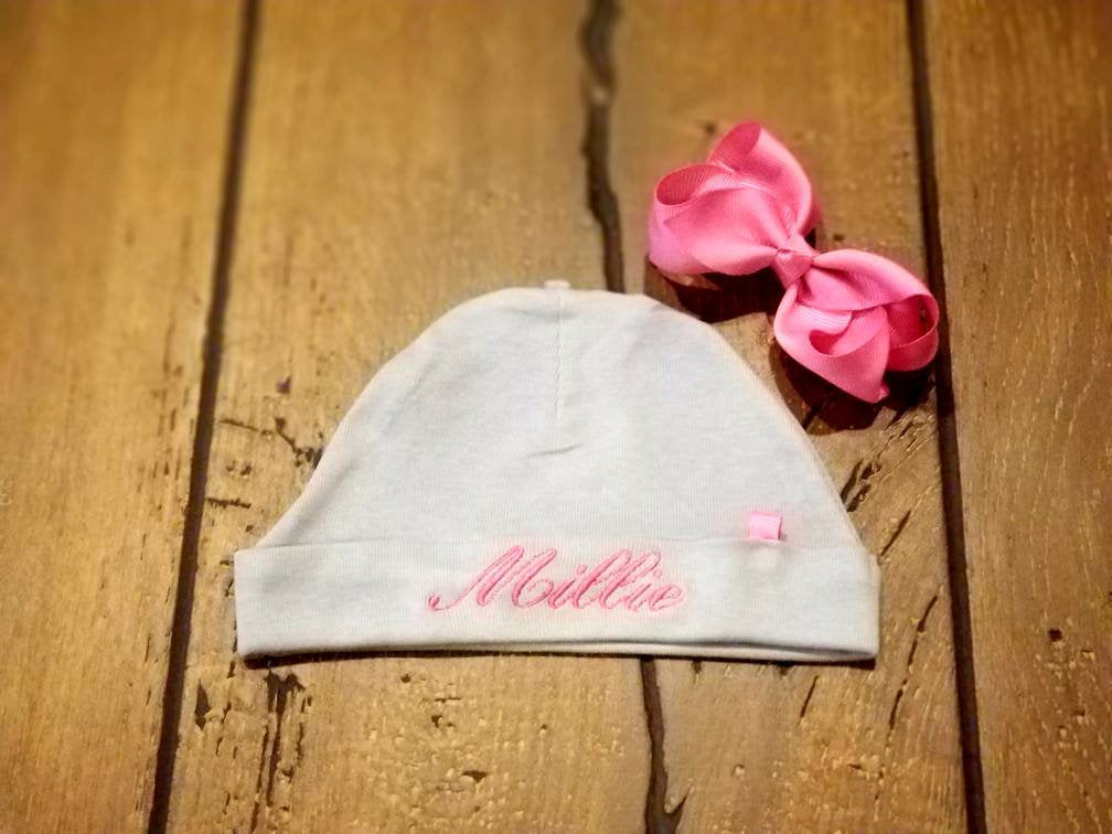 Personalized Infant Hat With Bow -Embroidered Newborn Hat With Matching Bow, Monogrammed 0-3 Month Cap, Baby Hat, Baby Shower, New Baby Gift