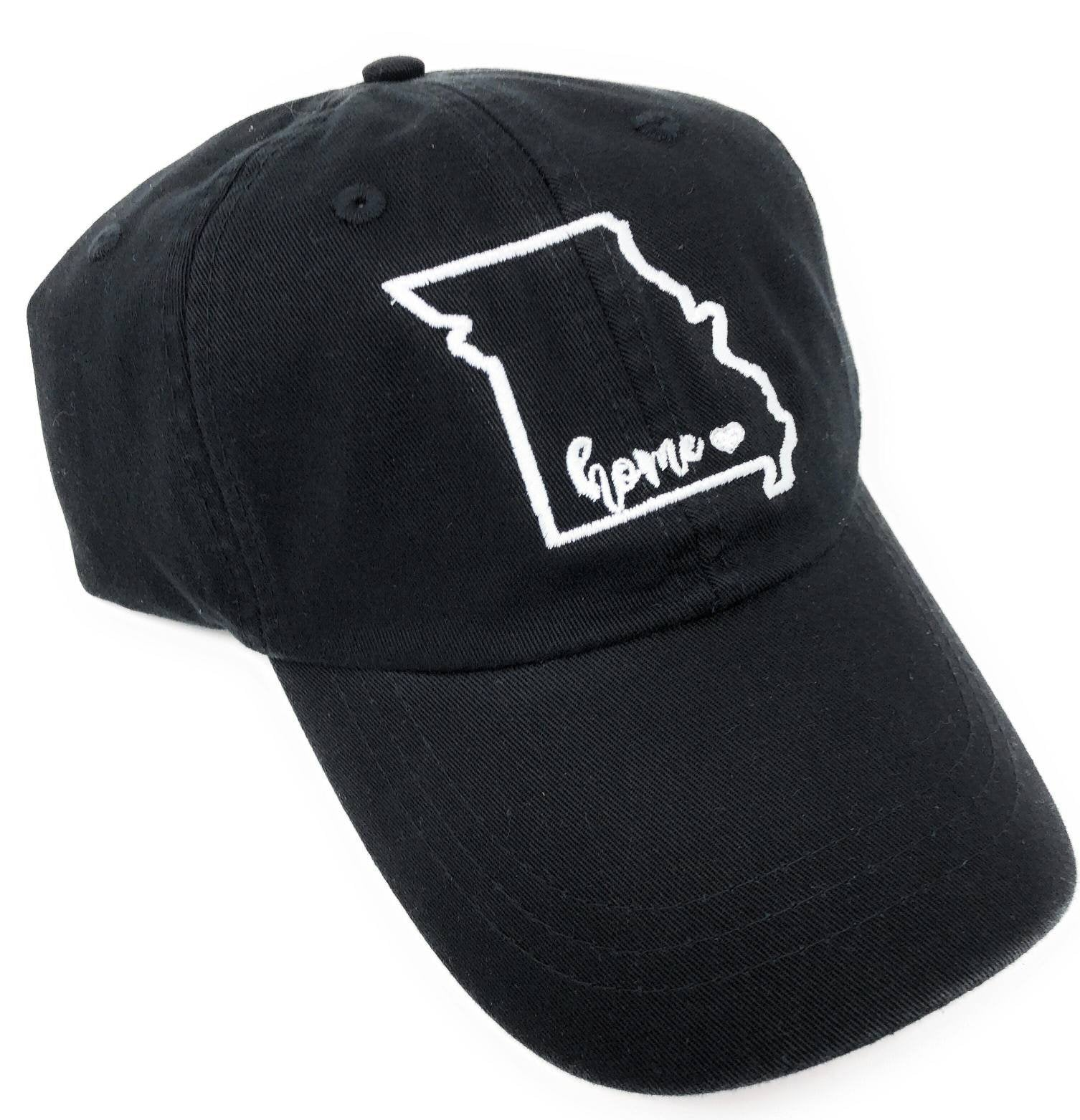 Missouri State Outline Embroidered Hat - Missouri Is Home Baseball Hat, Saint Louis, MO, STL, The Lou, Gateway City, St. Louis City Pride