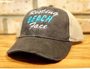 Resting Beach Face Hat - Embroidered Summer Vacation, Girl's Trip, I'll Bring The Alcohol, Bad Decisions, Pool, Party, BFF, Vacay Trucker