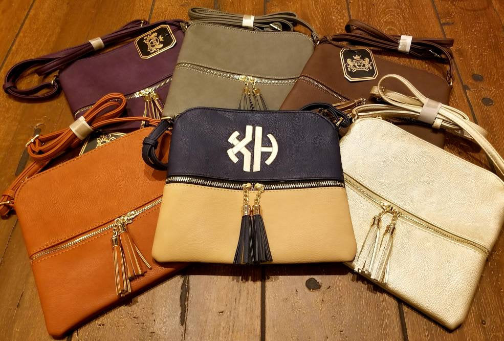 Monogrammed Tassel Crossbody Purse, Embroidered Hand Bag, Crossbody Two Tone Tassle Bag, Medium Size Leather Cross Body Tassel Purses