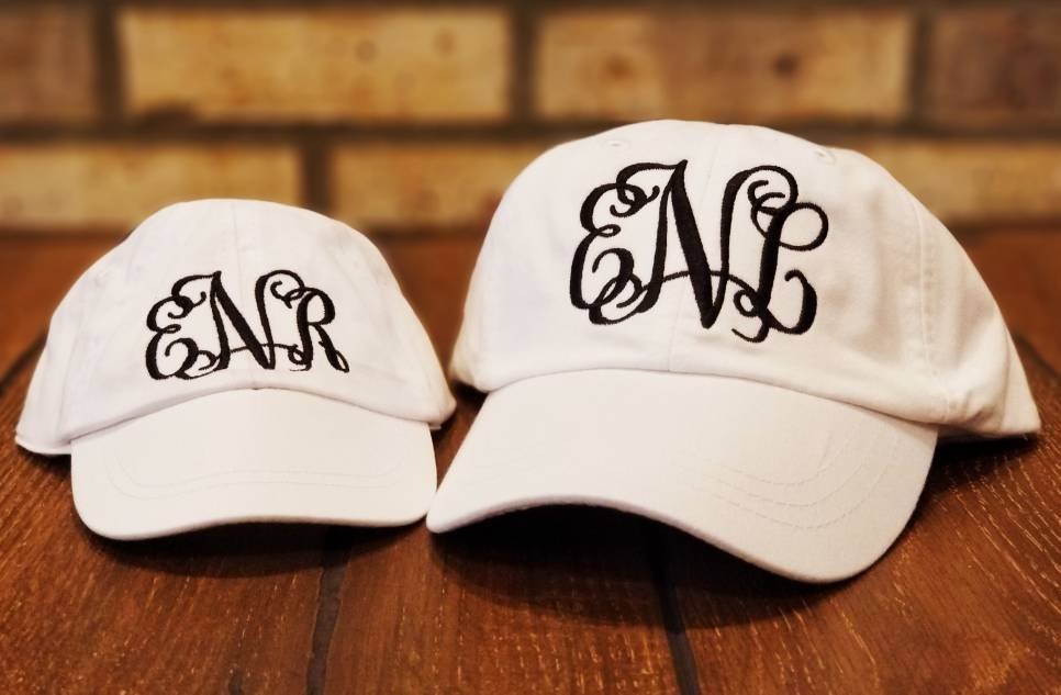 Mommy and Me Monogrammed Hats, Embroidered Matching Mother Daughter Hat Set, Personalized, Baseball Hats,
