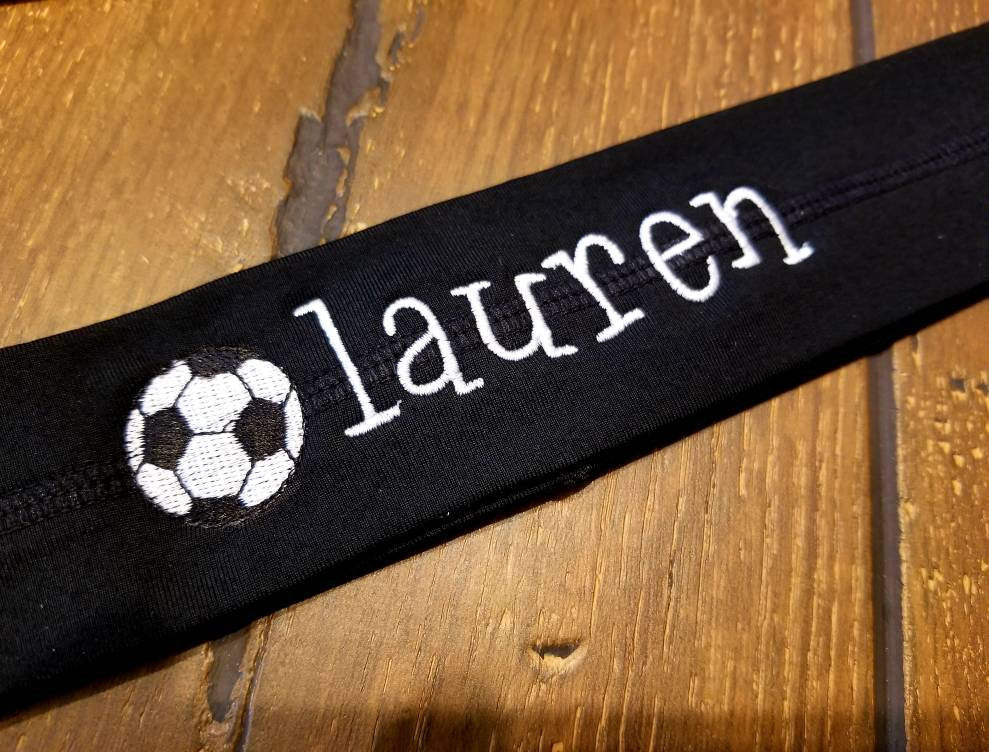 Embroidered Sport Headband - Personalized Girl's Soccer Ball Headband, Your Name, Monogrammed, All Sport Headbands, Soccer Team, Custom Gift