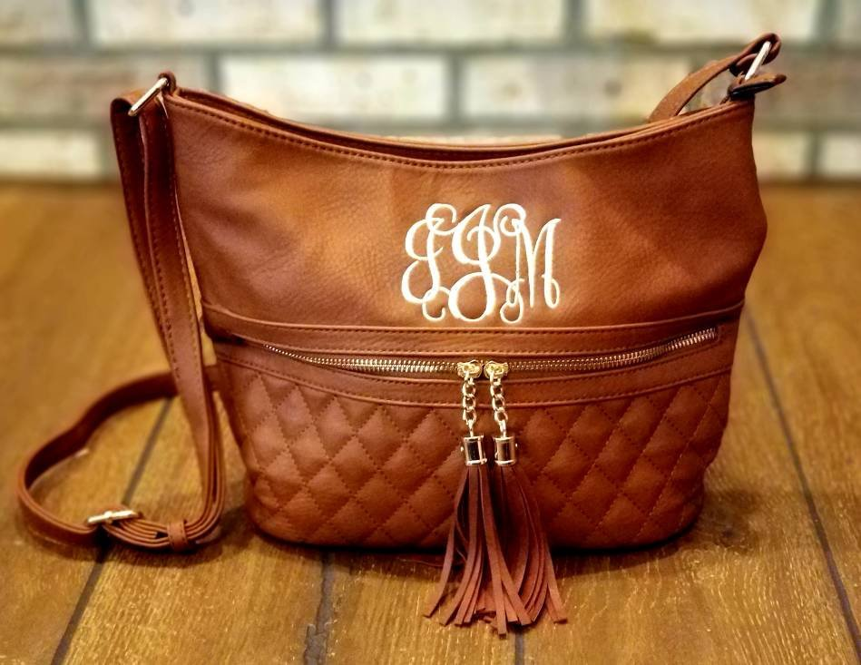 Monogrammed Tassel Crossbody Purse, Embroidered Handbag, Quilted Bag, Purses, Carryall, Monograms, Personalized Gift, Christmas, Holidays