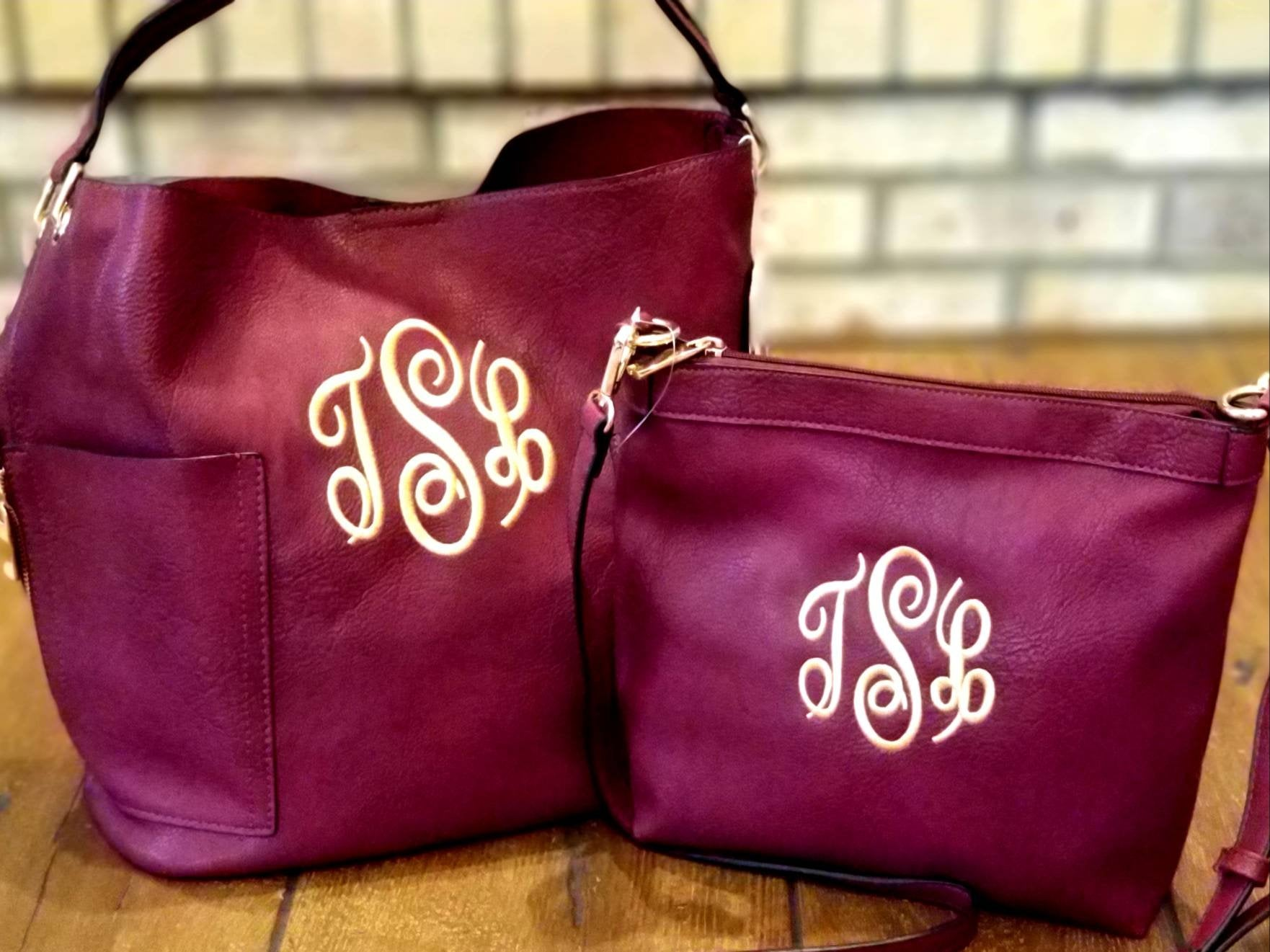 Monogrammed Hobo Bucket and Crossbody Bag Set, Embroidered 2-in-1 Combo Purse, Personalized Purses,