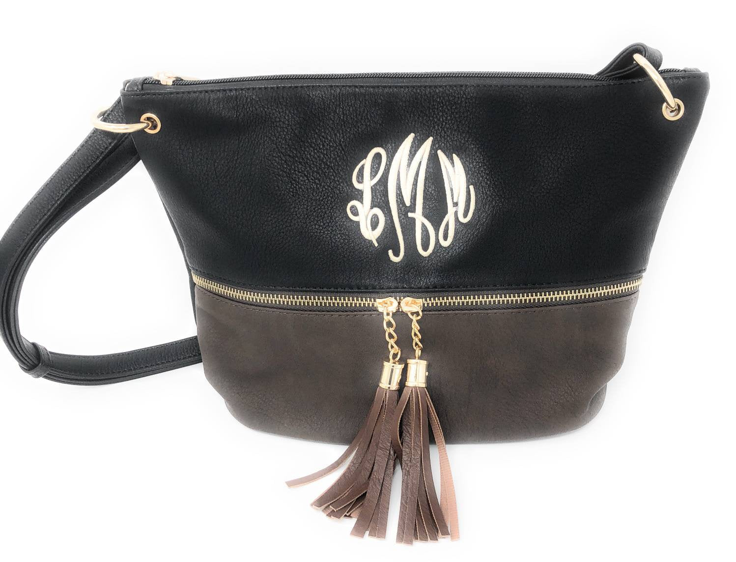 Monogrammed Crossbody Purse, Embroidered Tassle Crossbody Bag, Personalized Two Tone Cross Body Purse With Gold Zipper and Hardware, Purses