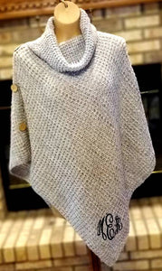 Monogrammed Knit Poncho - Embroidered Cowl Neck Sweater Top, Knit Turtleneck Poncho, Personalized Fall Winter Sweater Poncho