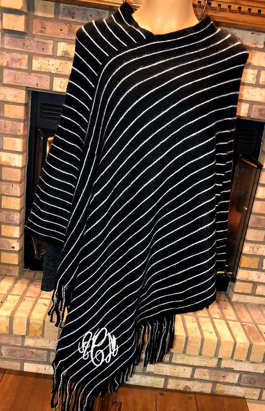 Monogrammed Striped Poncho - Embroidered Black and White Striped Ponchos, Personalized Cape, Knit Shawl, Fringe Cloak, Wrap, Poncho Sweater