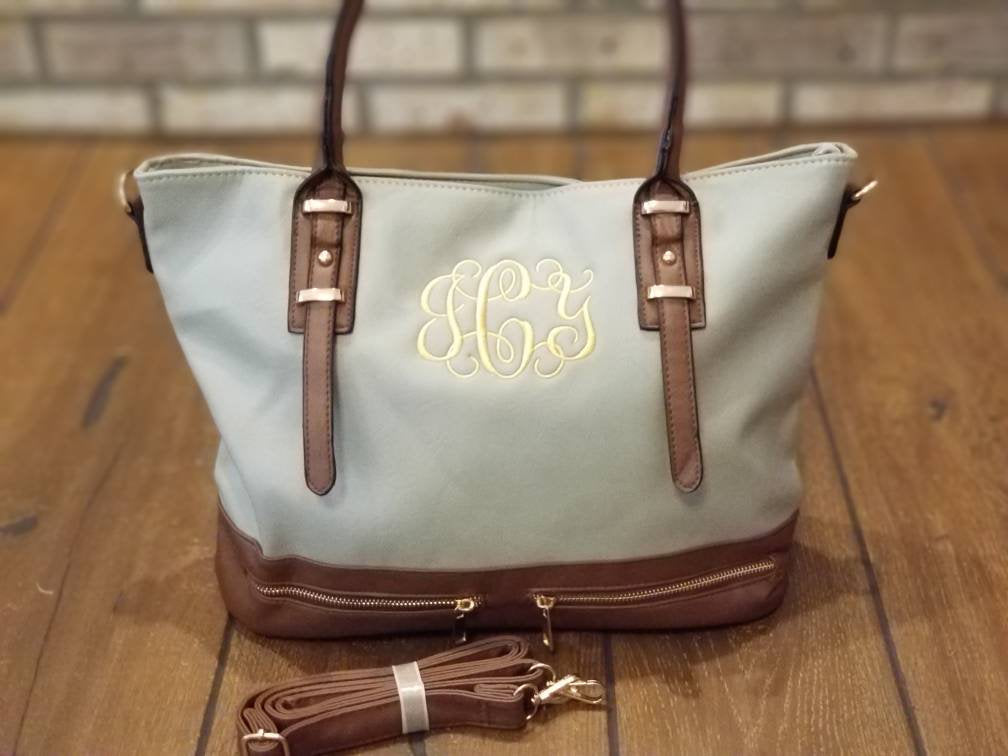 Monogrammed Purse, Embroidered, Personalized Gift, Handbag, Monograms, Purses, Satchel, Carryall, Shoulder Bag,