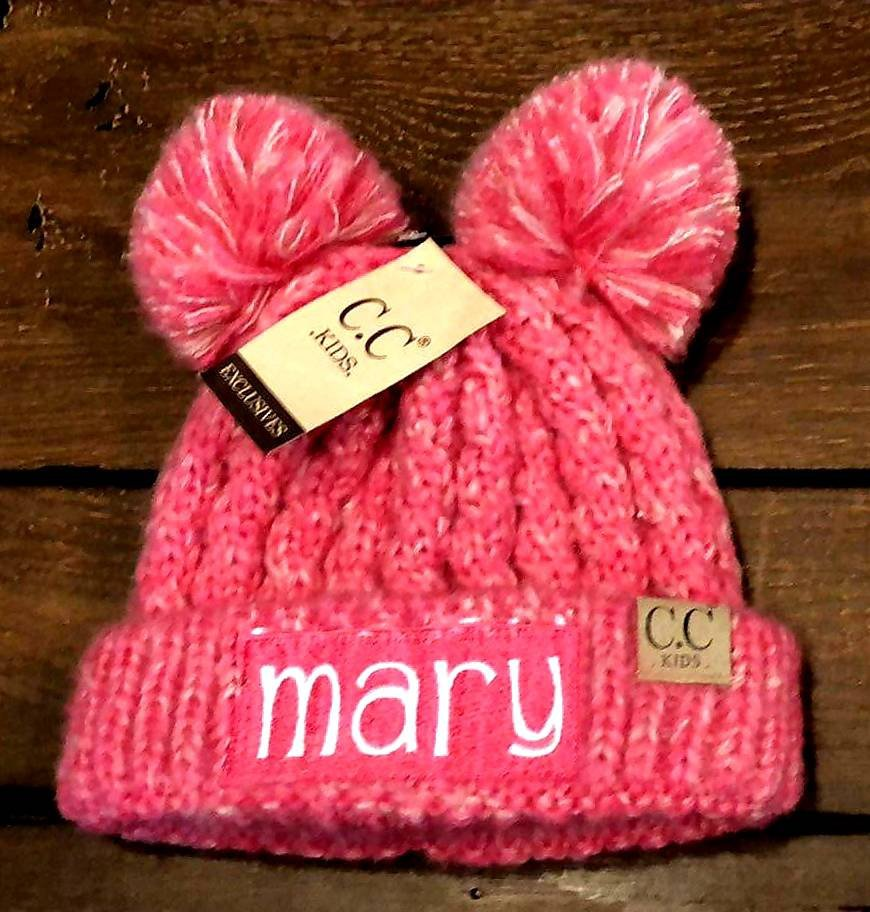 Embroidered CC Kid's Multi Tone Double Pom Beanies - Personalized Children's Winter Pom Pom Hat, Monogrammed Youth Beanies, Kids Knit Caps