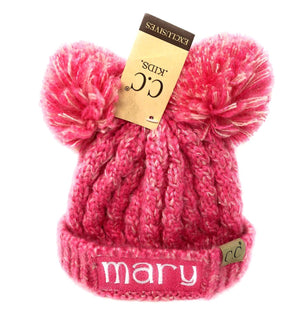 4cf0b71f1 Embroidered CC Kid's Multi Tone Double Pom Beanies - Personalized  Children's Winter Pom Pom Hat, Monogrammed Youth Beanies, Kids Knit Caps