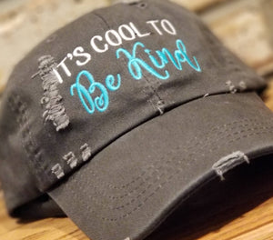 It's Cool To Be Kind Hat - Embroidered Kindness Baseball Cap, Stop Bullying, Anti Bully, Custom Designed Hats, Friendship Ball Caps